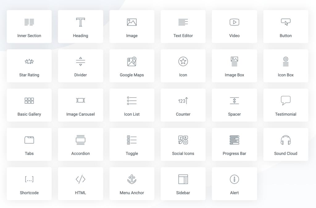 Elementor Widgets List
