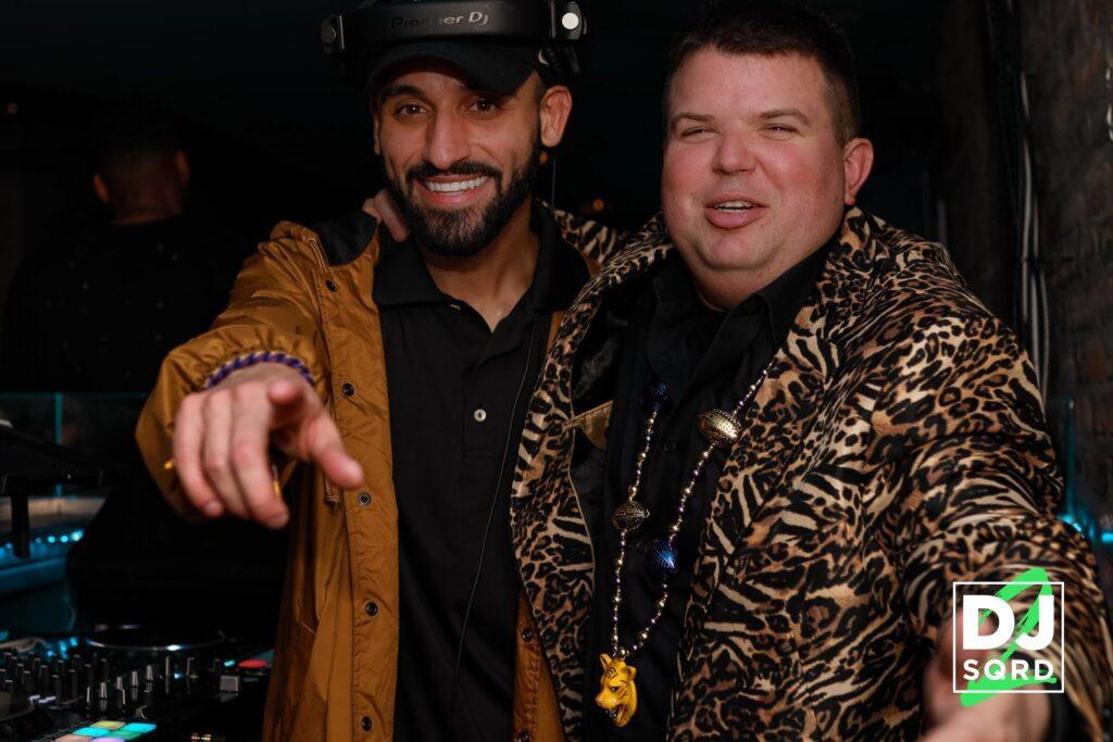 DJ SQRD with Cheetah Jacket Guy
